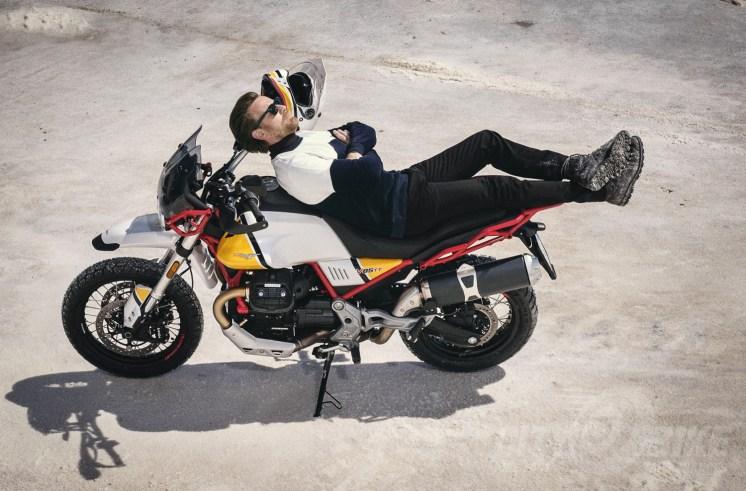 Hello ladiez... Ewan McGregor laid out on Moto Guzzi's new V85TT. Photos: Moto Guzzi