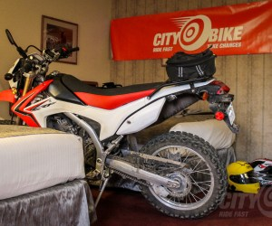 Honda CRF250L Project Bike in a Hotel Room