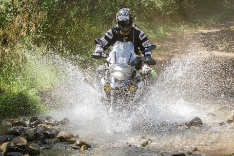 BMW R1200GS project bike in the water at the 2017 Bungee Brent's Backroad Bash. Photo: Angelica Rubalcaba.
