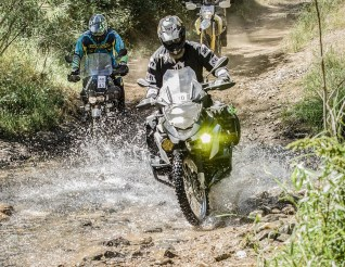 BMW R1200GS project bike water crossing. Telelever wins again! Photo: Angelica Rubalcaba.