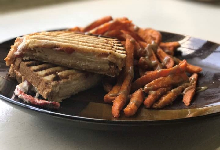 Weekend Recipe: Roasted Red Pepper and Goat Cheese Chicken Panini with Sweet Potato Fries