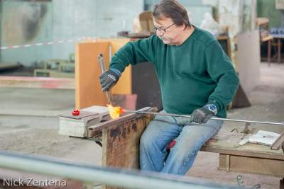 Glass maker at work