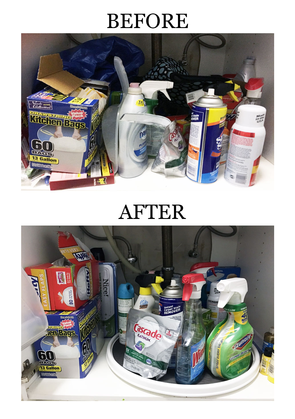Learn how to organize under your sink with budget-friendly solutions. #organizationideas #organization #storageideas #storageideasforsmallspaces #storagesolutions