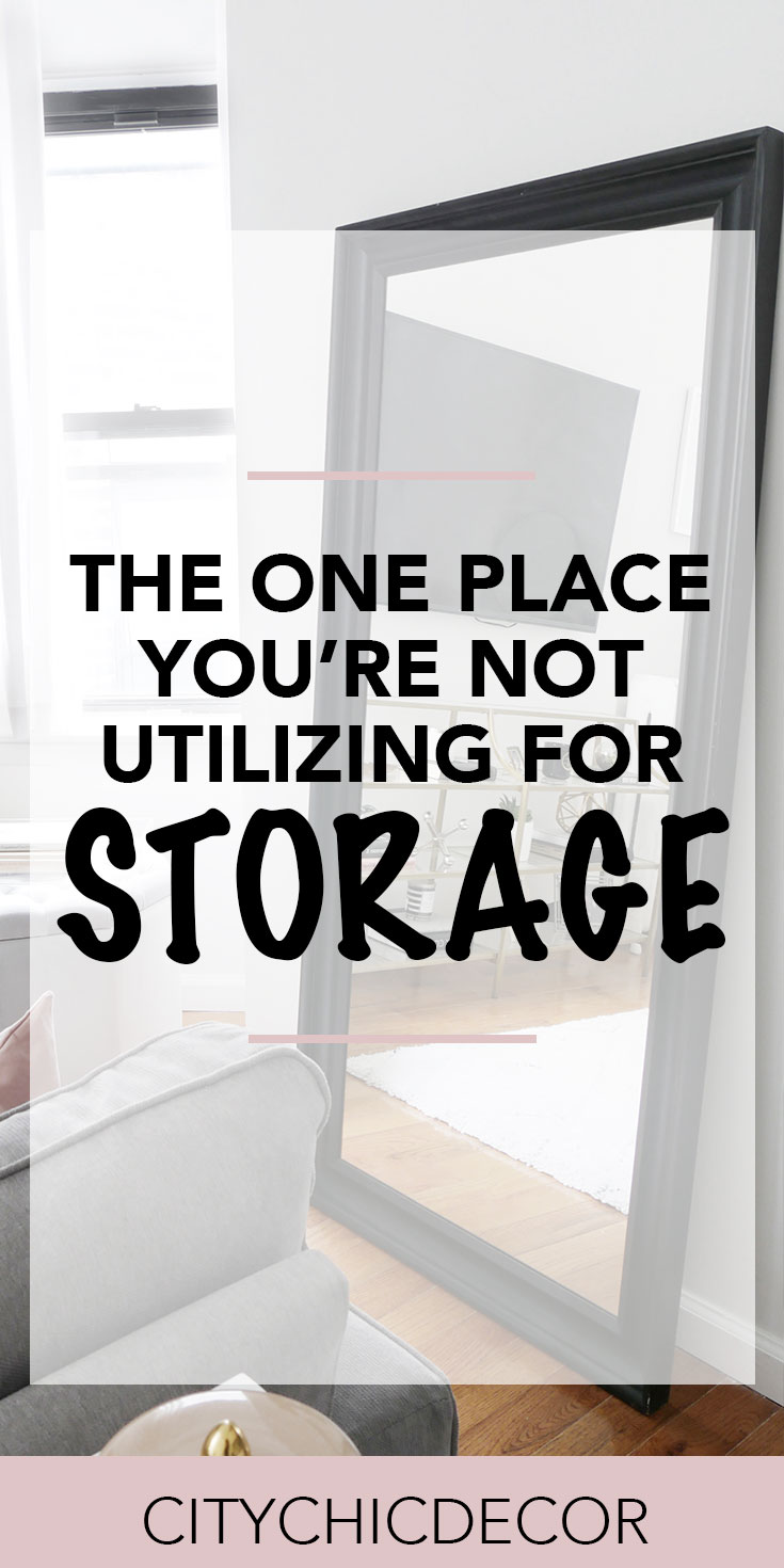Live in a small apartment? Struggle with finding enough storage? This is one placee you're definitely not utilizing for storage, but should! #smalllivingroomideas  #smallapartmentdecorating #storageideas #storageideasforsmallspaces #storagesolutions #organizationideas #organization