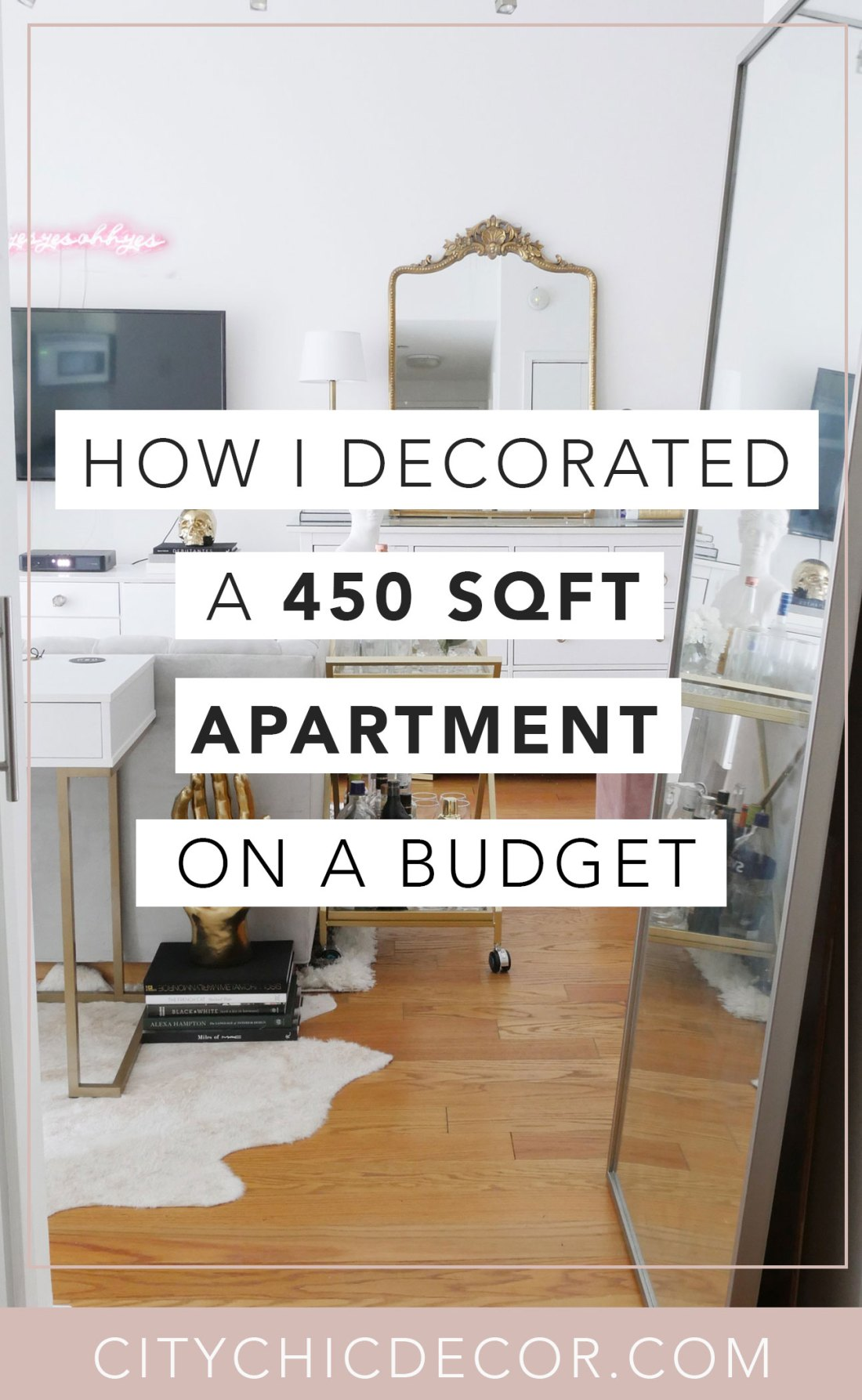 Live in a small apartment or studio and not sure how to decorate it? Or on a tight budget and feel like you don't have the money to spend on new furniture? Well, you can finally erase those fears! Learn how to decorate turn a small space into a chic home WHILE staying on a budget! #studioapartmentideas #tinystudioapartmentideas #studioapartmentdecorating #decoratingonabudget #smallapartmentideas