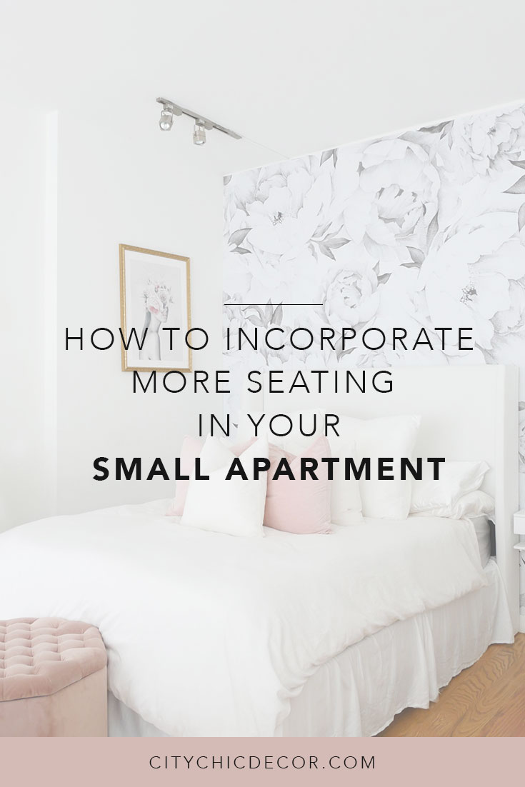 Learn how to incorporate enough seating into your small apartment with clever tricks. You'll finally be able to host the way you've always wanted to! #smalllivingroomideas #smallapartmentdecorating #smallapartmentideas #rentalhomedecorating #rentaldecorating #studioapartment #studioapartmentideas