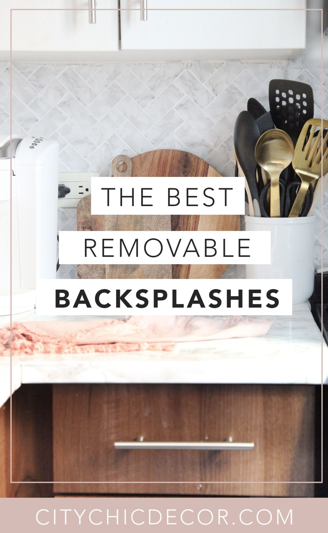 If you live in a rental home and struggle decorating it, you need to know about these removable peel & stick backsplashes. You can use these from your kitchen to your bathroom! #rentalhomedecorating #rentaldecorating #rentalapartmentdecorating #removablewallpaper #removablebacksplash #removableflooring #peelstick