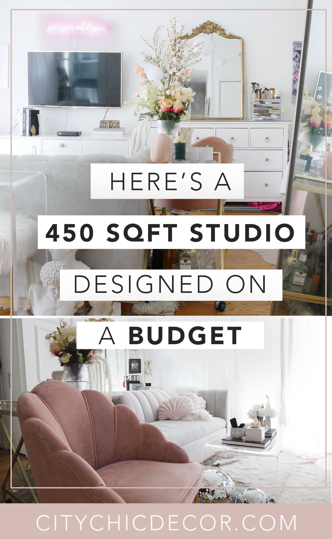 Live in a small apartment or studio and don't know how to decorate it? Or on a tight budget and feel like you don't have the money to spend on new furniture? Well, you can finally erase those fears! Learn how to decorate turn a small space into a chic home WHILE staying on a budget! #studioapartmentideas #tinystudioapartmentideas #studioapartmentdecorating #decoratingonabudget #smallapartmentideas