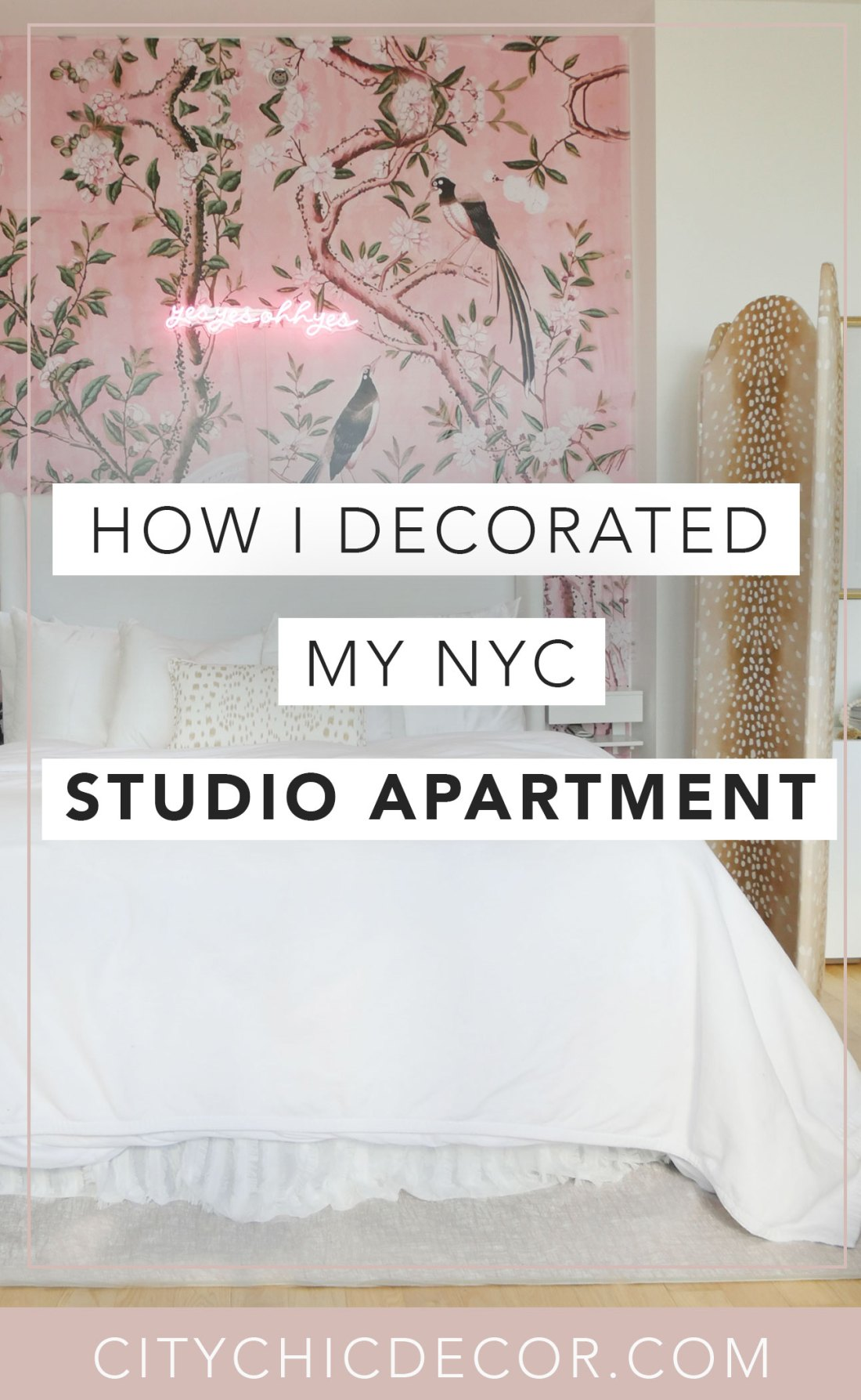 Live in a small apartment, home or studio and don't know how to decorate it? Or on a tight budget and feel like you don't have the money to spend on new furniture? Well, you can finally erase those fears! Learn how to decorate and turn a small space into a chic home and divide your room #studioapartmentideas #tinystudioapartmentideas #studioapartmentdecorating #decoratingonabudget #smallapartmentideas #roomdivider
