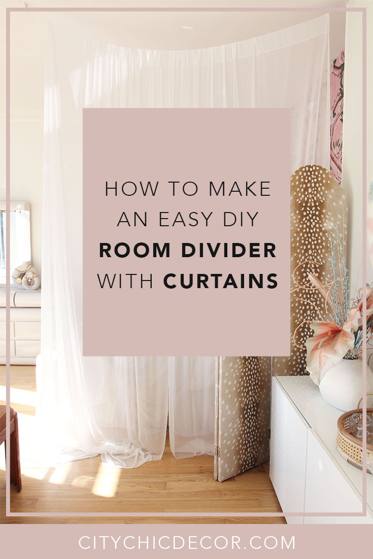 Live in a studio apartment and need to create a room divider? Need some studio apartment ideas? Learn how to create a cheap chic room divider with just curtains #roomdivider #roomdividerideas #studioapartmentideas #tinystudioapartmentideas #studioapartmentdecorating #decoratingonabudget #smallapartmentideas