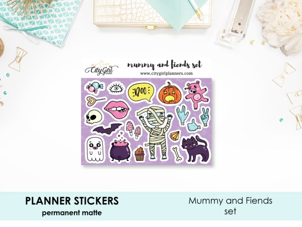 Mummy and Fiends Halloween Stickers