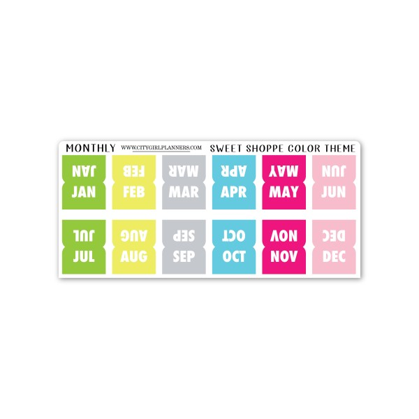 Mini Monthly planner tabs Sweet Shoppe