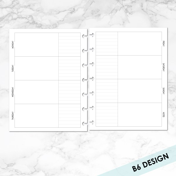 B6 week on 2 pages horizontal with 2 boxes per day