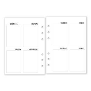 A6 Undated Week 2 Pages Vertical calendar insert