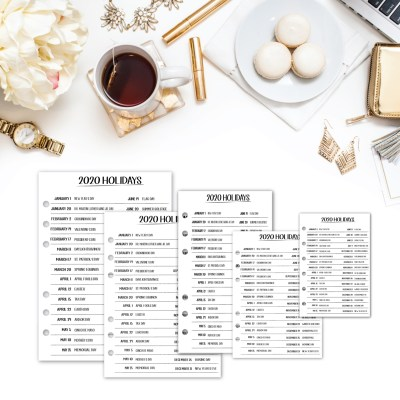 2020 Holiday Planner Insert