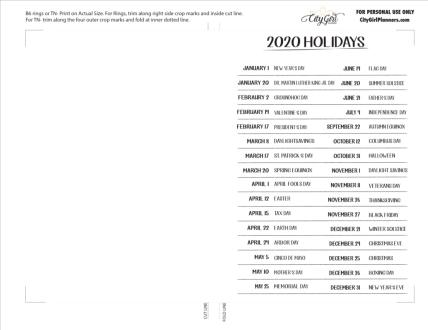 B6 2020 Holidays freebie PDF example