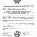 Notice of Intent to Amend & Adopt an Ordinance 2013 – 004