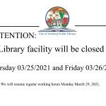 Library Closure: March 25 – 26 2021