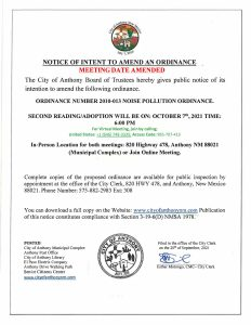 Notice Of Intent to Amend an Ordinance, an Ordinance Number 2010-013 Meeting Date Amended. @ City Municipal Complex