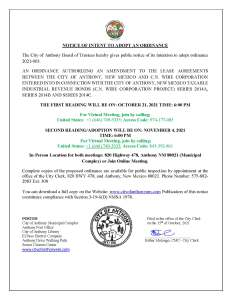 Notice Of Intent to Adopt Ordinance an Ordinance  Authorizing an Amendment to The Lease Agreements  Between The City of Anthony, NM and C.N. Wire Corporation entered into  in Connection with the City of Anthony, NM Taxable Industrial Revenue Bond  (C.N Wire Corporation Project) Series 2014A. Series 2014B and Series  2014C. @ City Municipal Complex