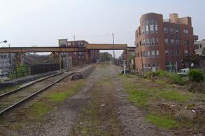view of Bloomingdale Trail, looking west at Milwaukee Avenue