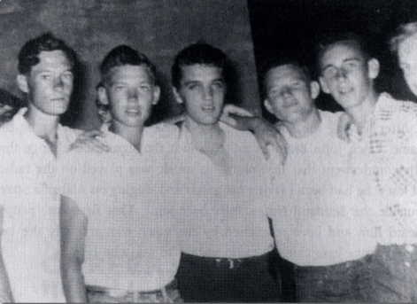 James A. Lindsey, Irby Hazzard, Elvis, Jim Blaylock, Robert Marks and William Harkins from Merigold, MS at show in Clarksdale Photo courtesy Memphis - Elvis Style by Mike Freeman and Cindy Hazen