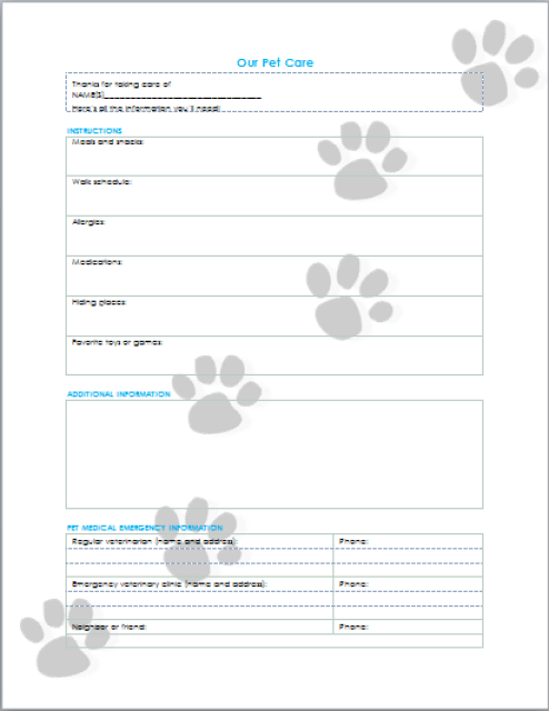 pet care information printable
