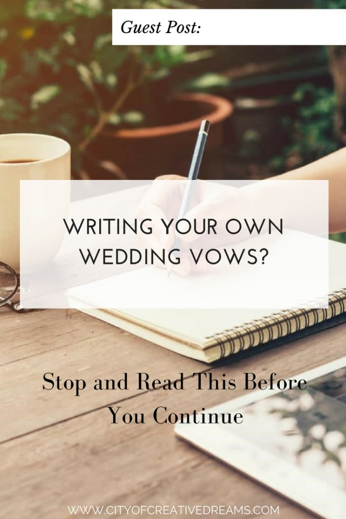 writing own wedding vows If you're looking to write your own wedding ceremony, i want to share with you what writing our wedding ceremony meant to me, the process i used to write it, some wedding ceremony ideas if you do have the option to write your own vows bee.