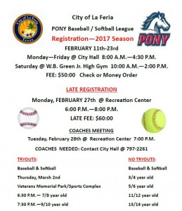 2017 La Feria PONY Baseball/Softball Registration   City of