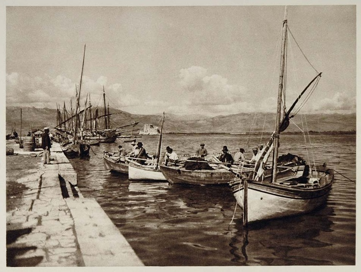 Boats moored along the quay in Nafplio harbor, 1928