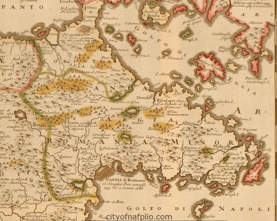 Old coloured map of the Peloponnese. Printed in Amsterdam by J. Danckerts circa 1690_argolis
