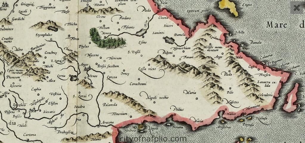 Old coloured map of the Peloponnese. Printed in the year 1595-Gerard Mercator