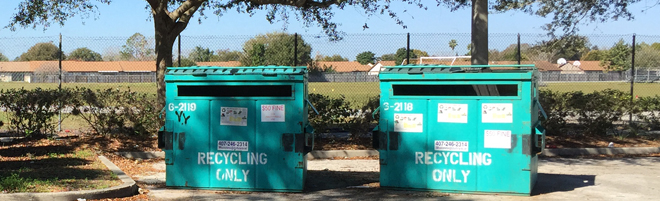 Recycling Drop Off   City of Orlando Public Works     Solid Waste What you can place in Recycling Drop Off containers  Cans  Aluminum  tin   steel  bi metal  lids from jars  Paper  Newspapers  cardboard  flattened