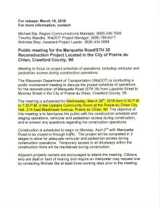 Public Meeting for Marquette Road Project