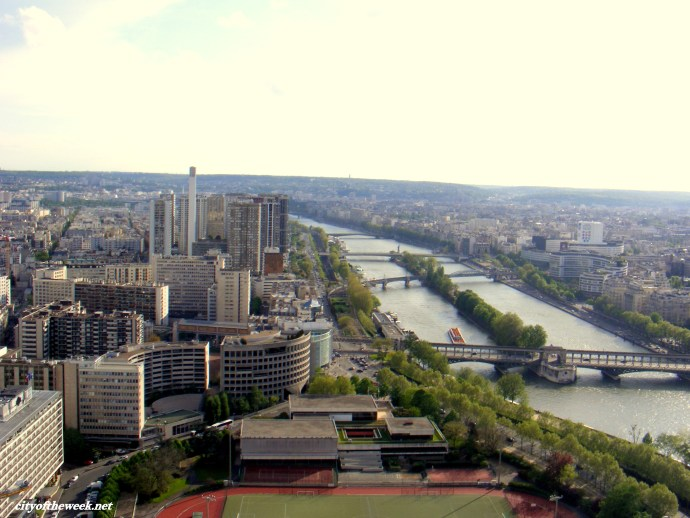 the Seine and the business district seen from the Eiffel tower
