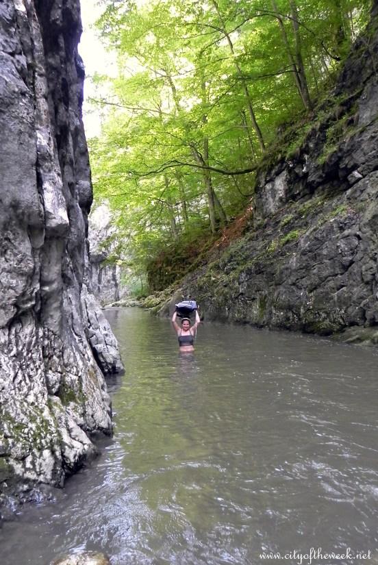 through the river :)