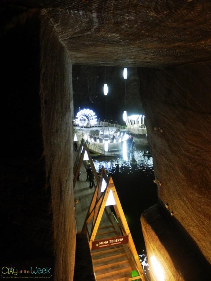 Entering Floor 1 at Turda Salt Mine