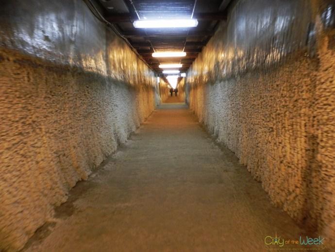 Salt formations corridor of Turda Salt Mine