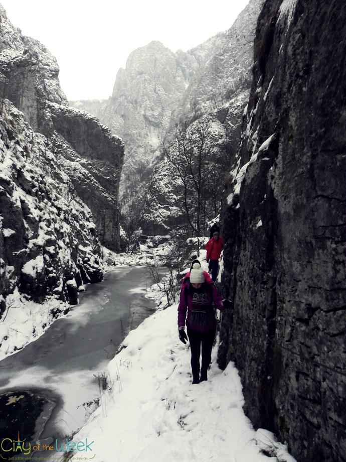 narrow path in Turda Gorge