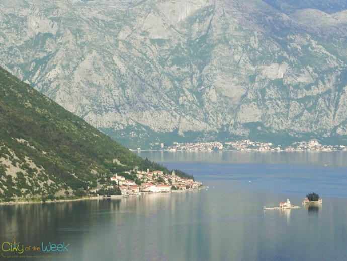 Perast and the islands from the Lipci road