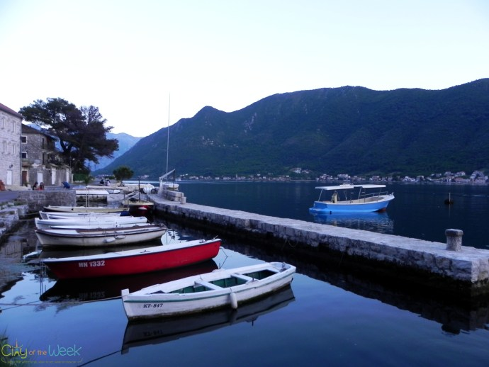 fishing boats at dusk in Perast
