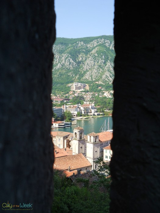 St. Tryphon seen through Kotor Fortress weapon hole