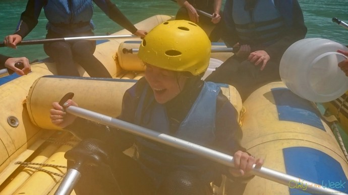 Splashed in the head at Tara Raft