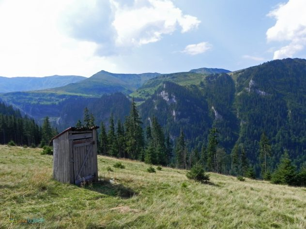 Latrine with a view in the Rodnei Mountains