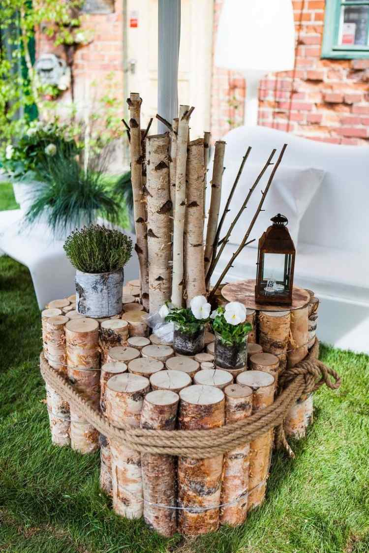 jardin diy avec des rondins de bois
