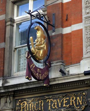 Fleet Street's Punch Tavern, with the eponymous puppet above the doorway