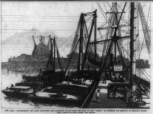 An illustration published in the July 7, 1885 issue of Frank Leslie's Illustrated Newspaper depicting the statue pieces being unloaded onto Bedloe's Island. Courtesy of the Library of Congress