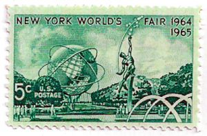Promotional Postage Stamp picturing the 1964/65 World's Fair.