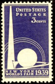 Postage Stamp picturing the Trylon and Perisphere, 1939