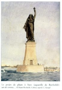 """Rendering of Bartholdi's Original Suez Canal proposal """" Egypt Bringing the Light to Asia."""" C.1868 Via Musee Colmar"""